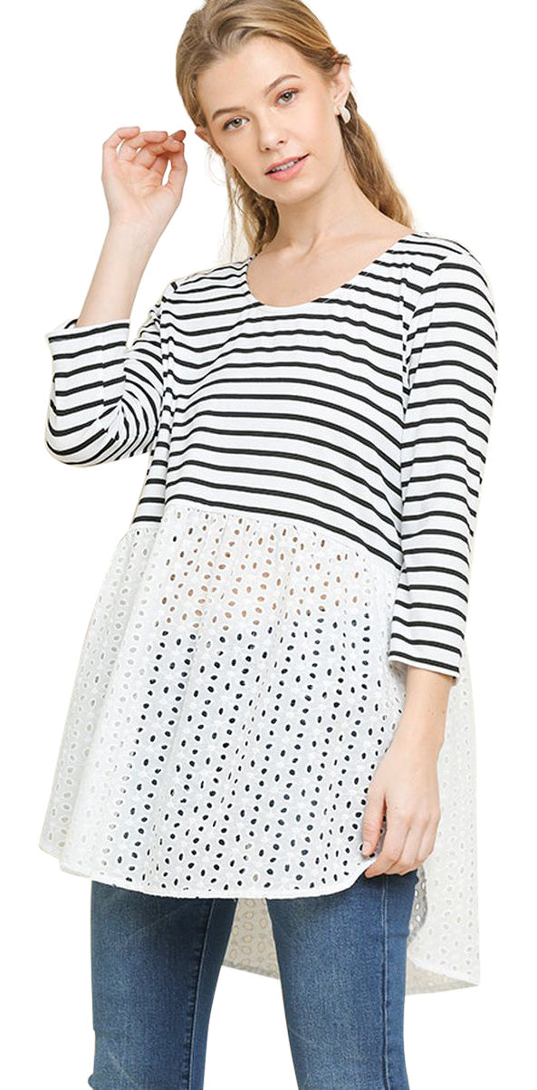 Striped & Eyelet Babydoll Top, White