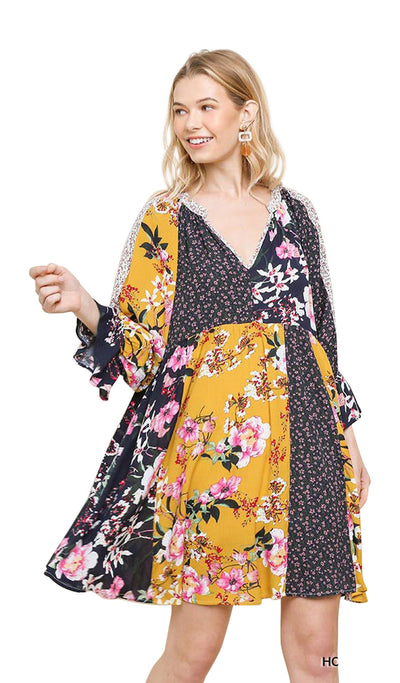 Mixed Floral Bell Sleeve Dress, Honey