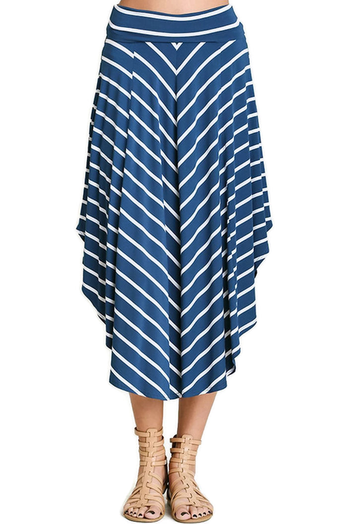Bohemian Striped Midi Skirt, Indigo