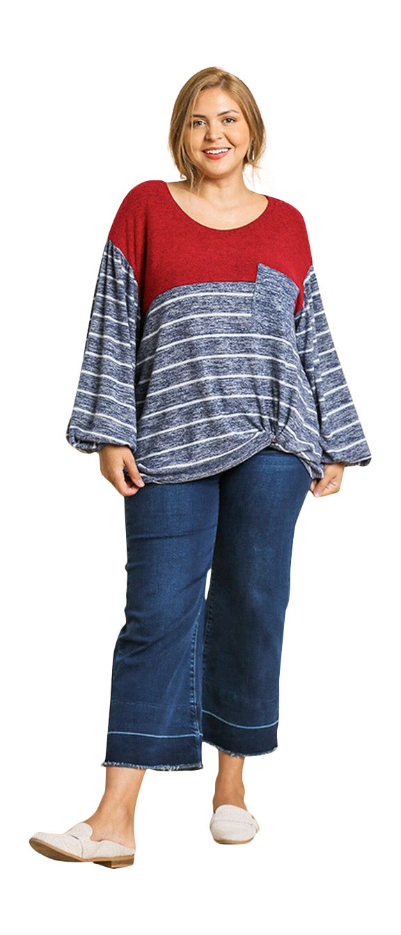 Heathered Puff Sleeve Top, Red Mix