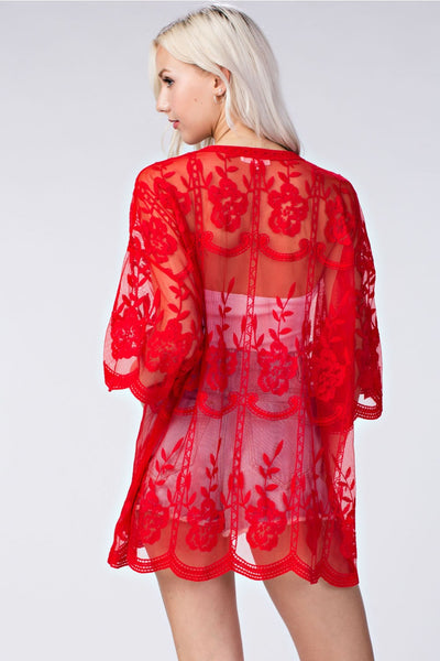 Milan Embroidered Lace Kimono, Red