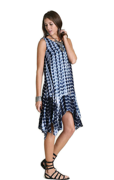 Tie Dye Sharkbite Dress, Navy