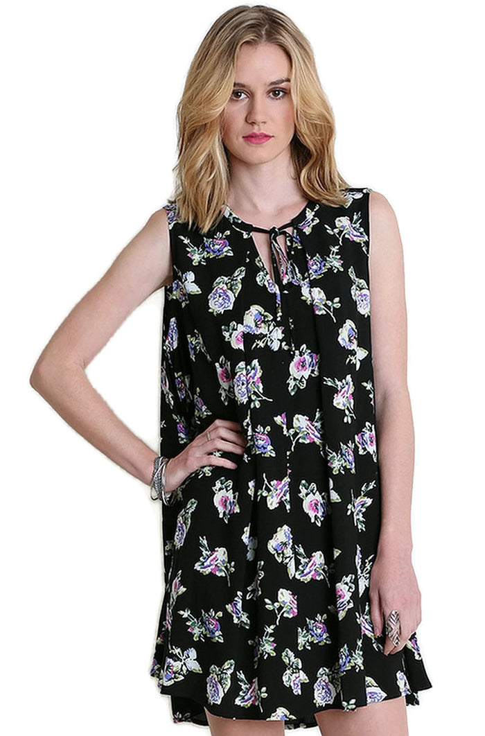 Floral Keyhole Sleeveless Dress, Black