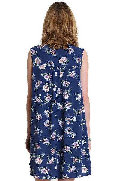 Floral Keyhole Sleeveless Dress, Navy