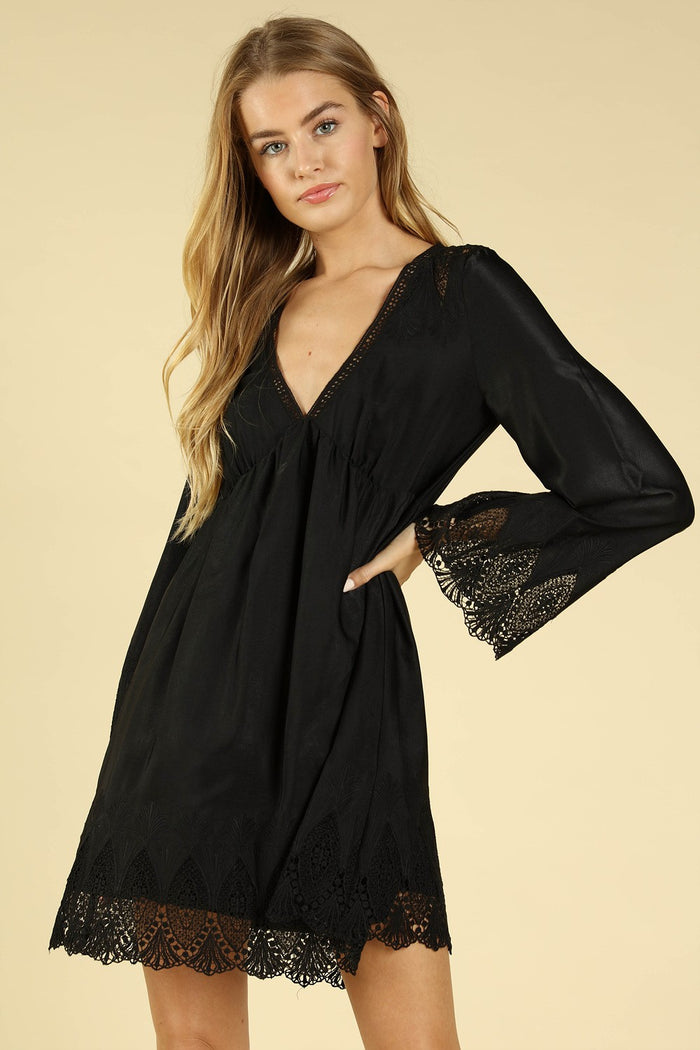 Heaven's Touch Lace Dress, Black