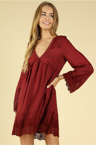 Heaven's Touch Lace Dress, Wine