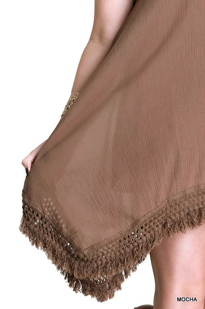 Bohemian Fringe Sleeveless Dress, Mocha