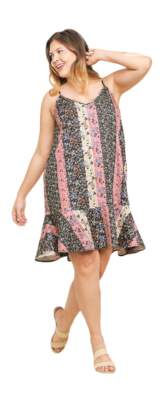 umgee floral print midi dress plus size