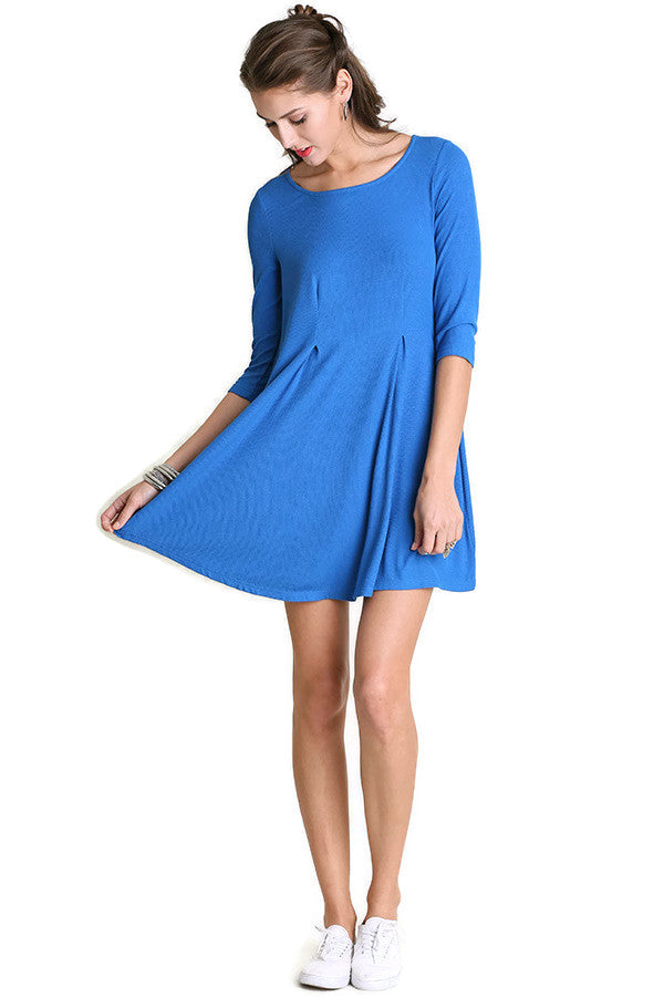 umgee cobalt 3/4 sleeve mini dress