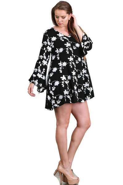 Floral Embroidered Swing Dress, Black