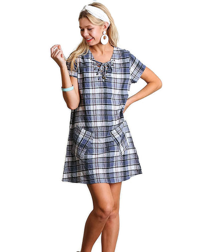 Lace up Short Sleeve Plaid Dress, Blue