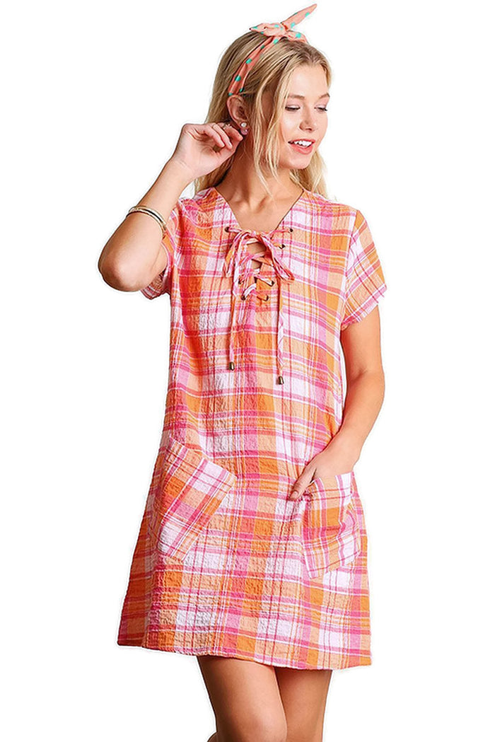 Lace up Short Sleeve Plaid Dress, Orange