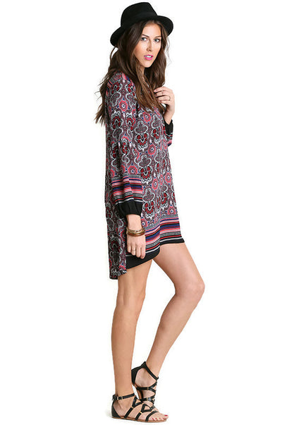Baby Doll Printed Dress, Berry