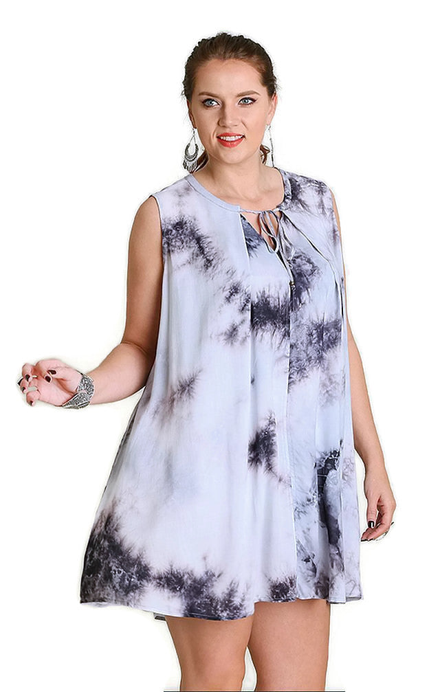 Tie Dye Sleeveless Keyhole Dress, Grey