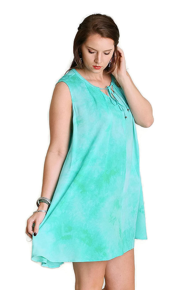 Tie Dye Sleeveless Keyhole Dress, Mint