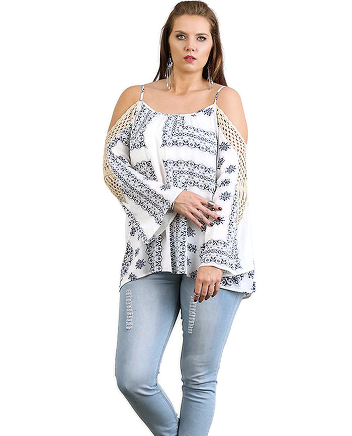 Crochet Cold Shoulder Tunic, Blue