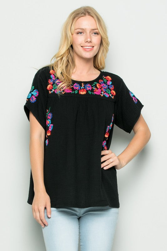 SEE AND BE SEEN EMBROIDERED BLACK TOP PLUS SIZE