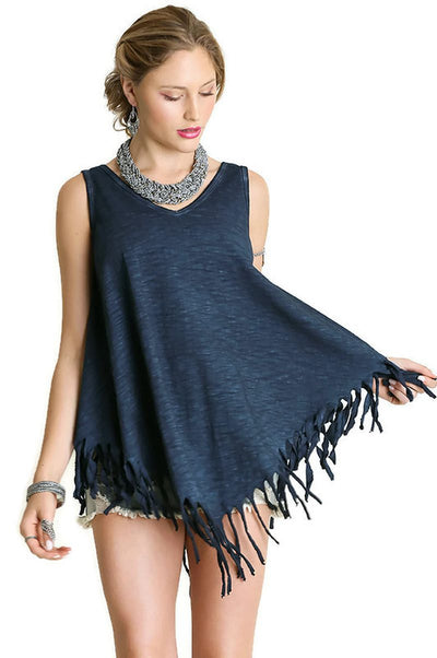Sleeveless Double V Fringe Tunic Top, Navy
