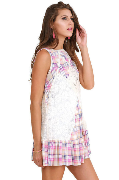 Plaid Sleeveless Lace Dress, Pink