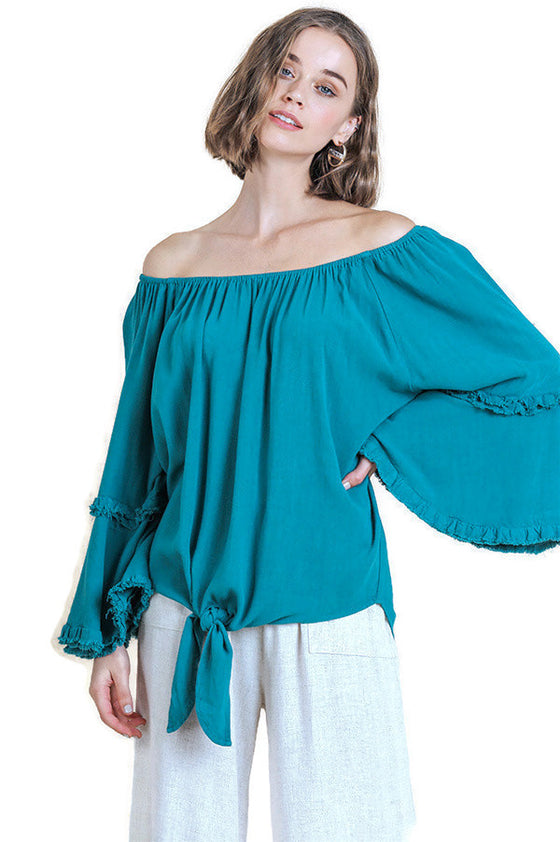 Bell Sleeve Waist Tie Top, Teal