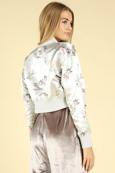 Satin Embroidered Bomber Jacket, Silver