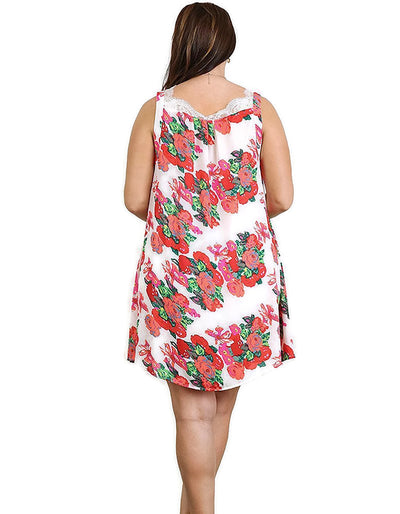 Floral Print Dress with Lace Details, Off White Mix