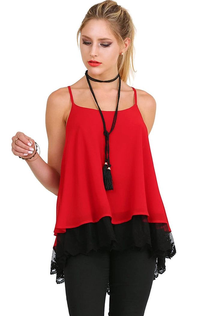 Double Layer Lace Top, Red & Black