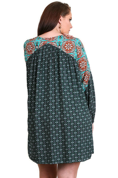 Lace Up Peasant Tunic Dress, Green