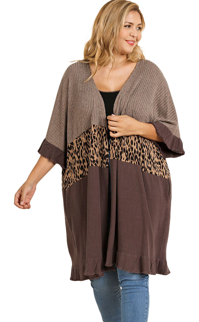 Animal Print Open Front Cardigan umgee