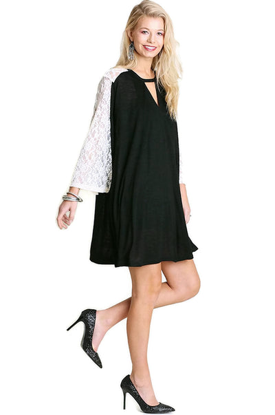 Keyhole & Lace Bell Sleeve Dress, Black