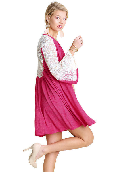 Keyhole & Lace Bell Sleeve Dress, Fuchsia