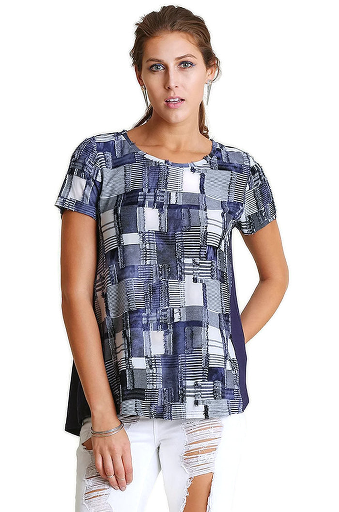 Patchwork High Low Top, Blue
