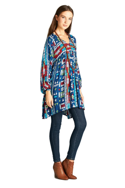 Geometric V-Neck Dress, Multi-Color