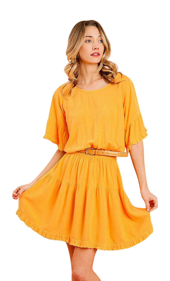 umgee ruffled hem dress