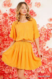 Ruffle Hem Dress, Spicy Mustard