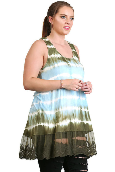 Sleeveless Tie Dye Lace Tunic, Aqua & Olive