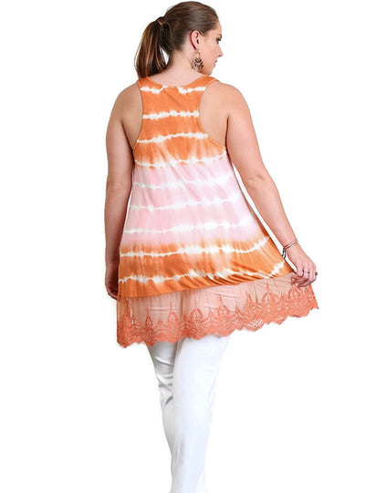 Sleeveless Tie Dye Lace Tunic, Peach & Camel