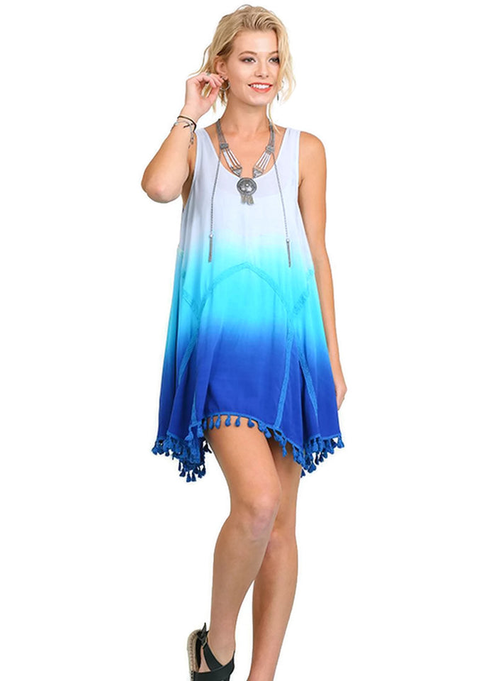 Ombre Tassel Trim Dress, Blue