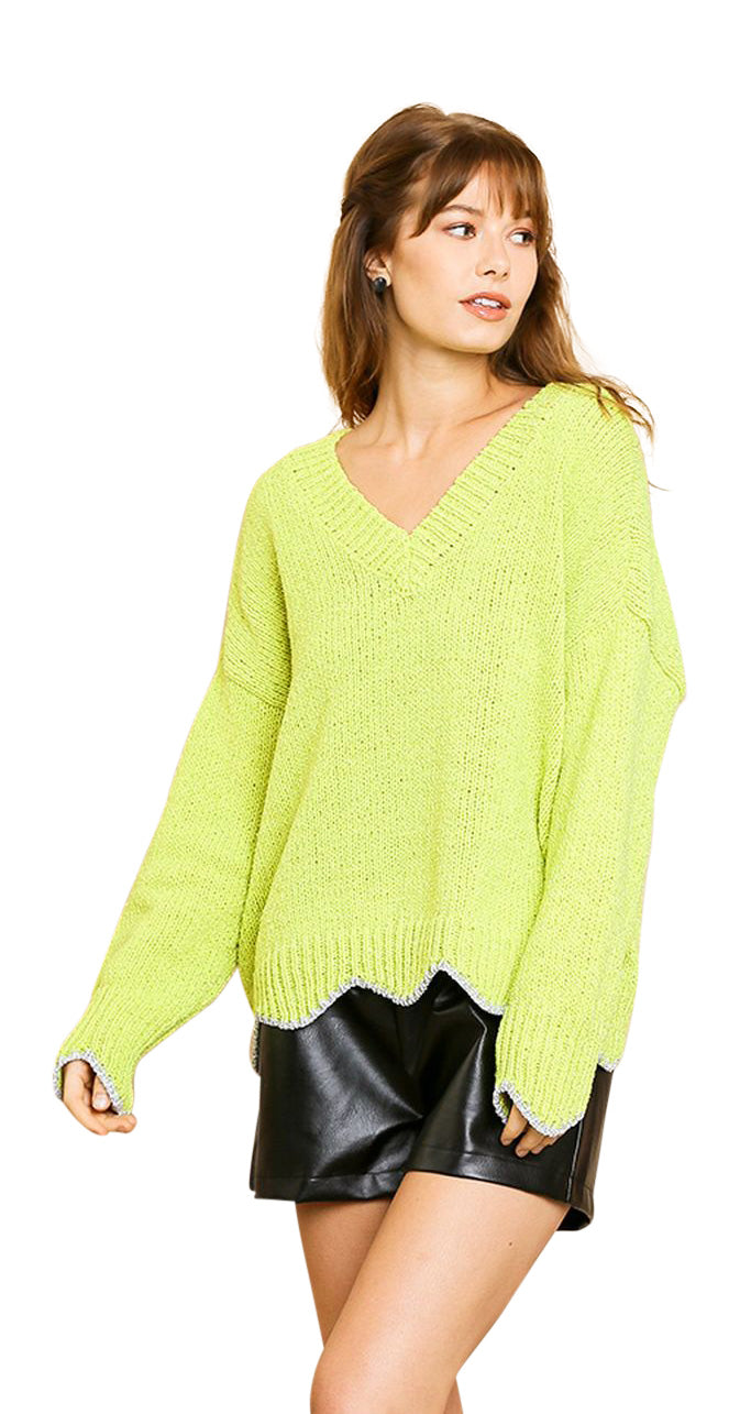 umgee / umgee usa lime zig zag sweater