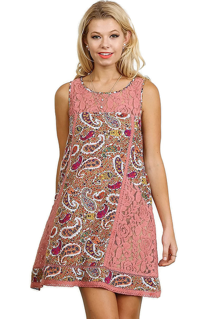 Paisley & Lace Sleeveless Dress, Mauve