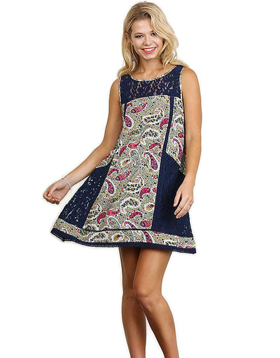Paisley & Lace Sleeveless Dress, Navy