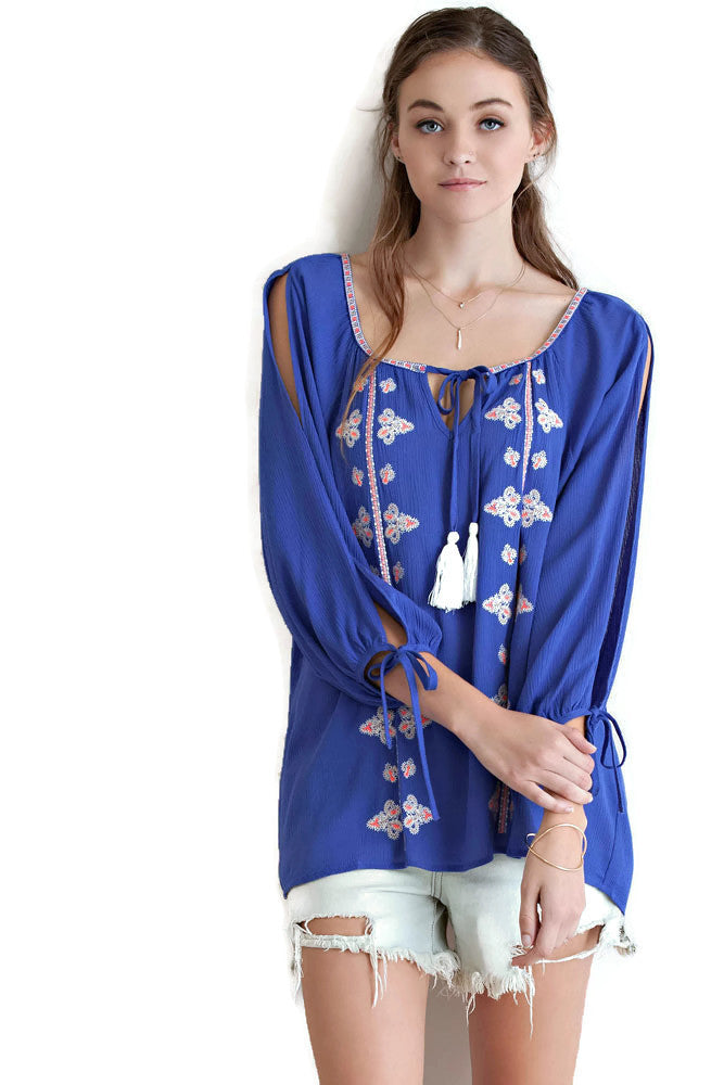 Embroidered Tassel Tie Top, Royal