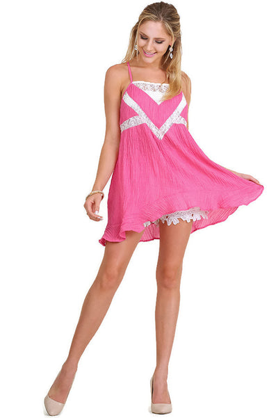 Ruffle & Lace Sleeveless Tunic, Fuchsia