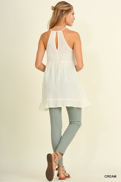 Ruffle & Lace Sleeveless Tunic, Cream
