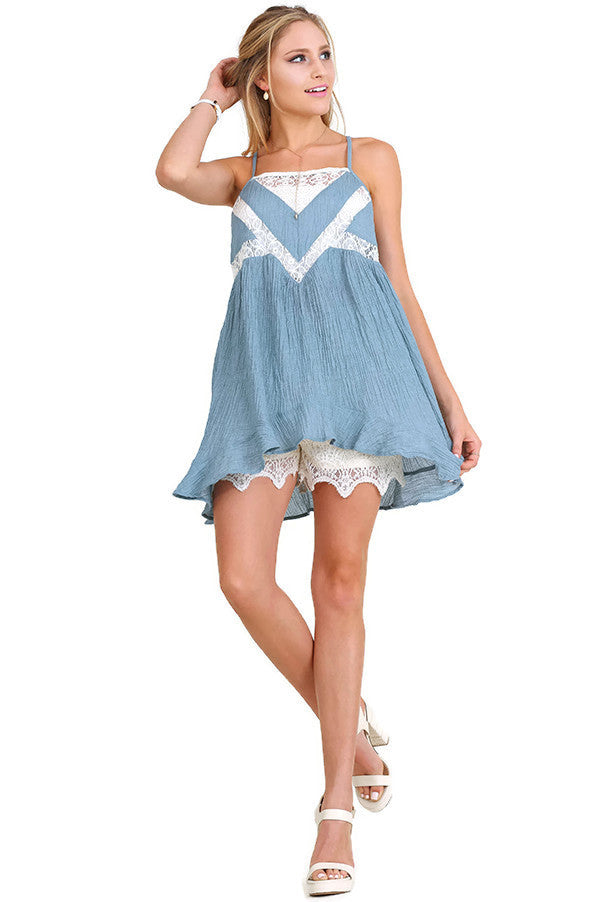 Ruffle & Lace Sleeveless Tunic, Misty Blue
