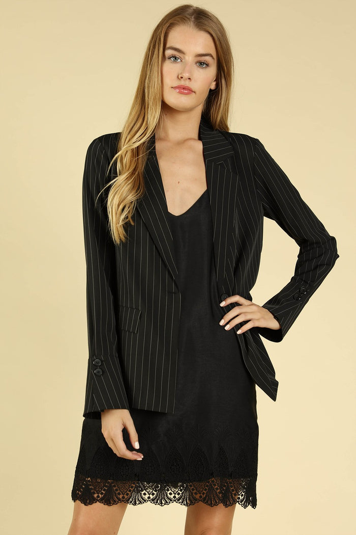 Power Hour to Happy Hour Striped Blazer, Black