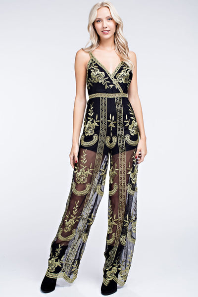 Floral Embroidered Lace Jumpsuit, Black / Gold