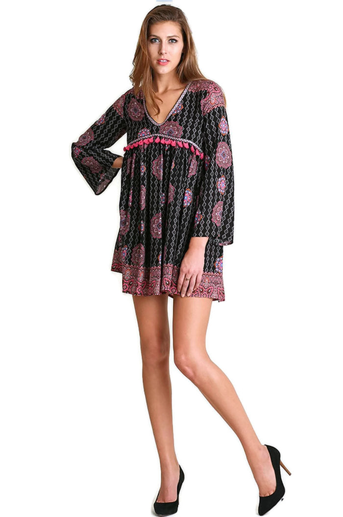 Tassel Trim Peasant Dress, Black