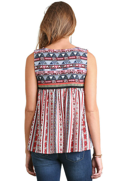 Tribal Print Tassel Tie Vest, Red