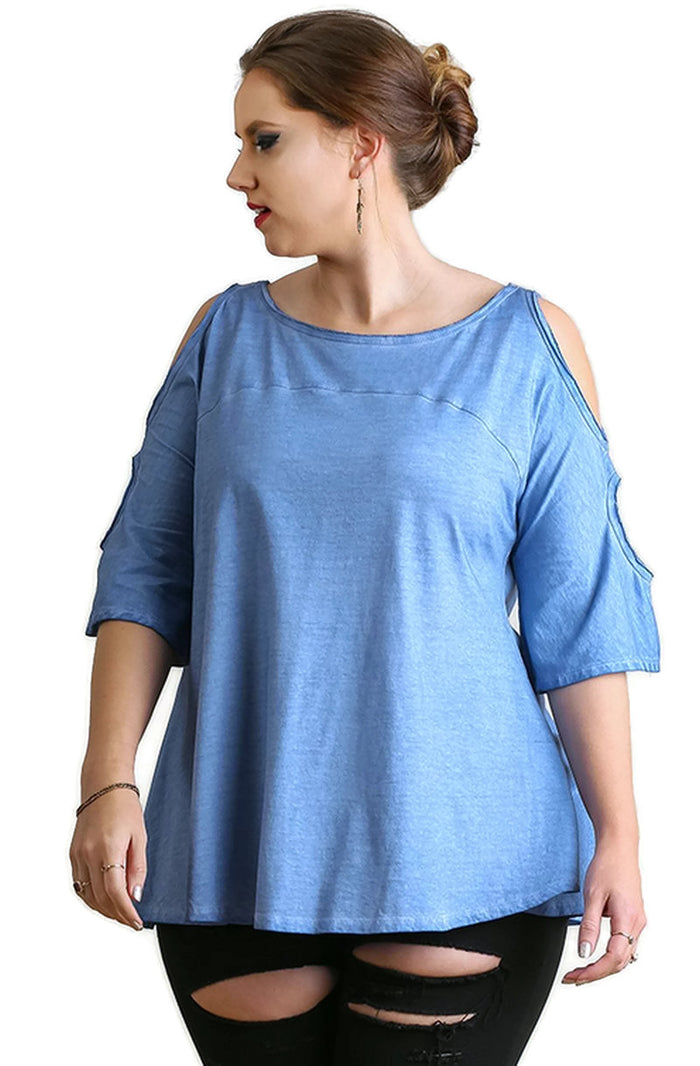 Mineral Washed Cold Shoulder Top, Indigo